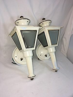 Vtg Pair of Porch Sconces Outdoor Carriage Lamps Brass Mid Century Wall Lanterns