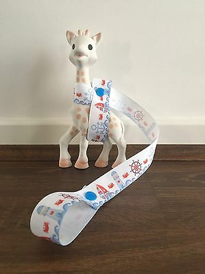 Sophie The Giraffe's Harness Toy/ Drink/ Leash/ strap /saver- Nautical