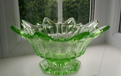 Sowerby Art Deco green glass fruit bowl Ref Pattern No 2505