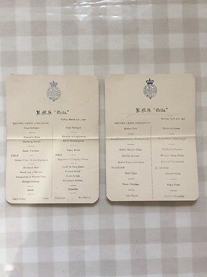 Menu From RMS Orita Friday And Sunday 1911 Antique Ship