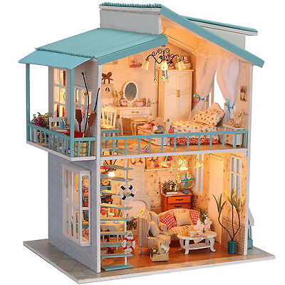 Sweetheart Large Hand Assemble Model Wooden Dollhouse Kit Voice Control Light