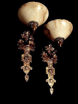 pair wall lights sconces angel face solid bronze real alabaster antique finished