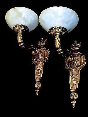 wall lighting fixtures solid bronze and real alabaster made by artist