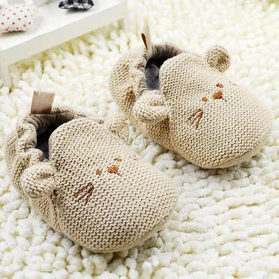 Newborn Toddler Baby Boy Girl Knitted Crib Shoes Sole Elastic First Walker Shoes
