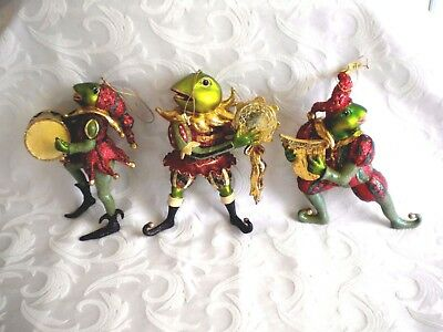 "Vintage Rare Musician Frogs Christmas Ornaments 7"" Tall"