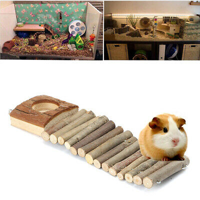 Funny Pet Mouse Hamster Rat Bird Ladder Bridge Suspended Log Wooden Deck Toy New
