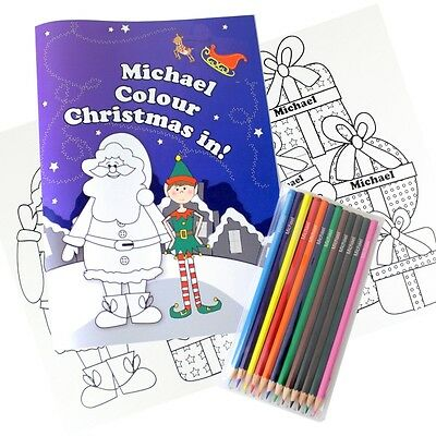 PERSONALISED Christmas Colouring Book with Pencil Crayons Stocking Filler