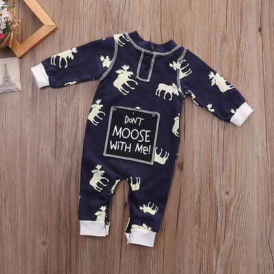 Infant Baby Boys Girls Onesies Long Sleeve Moose Romper Bodysuit Outfits Clothes
