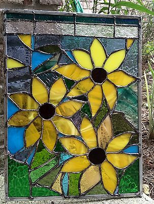"Stained Glass  Sunflower Autumn Suncatcher Transom Window Panel   12""x16"""