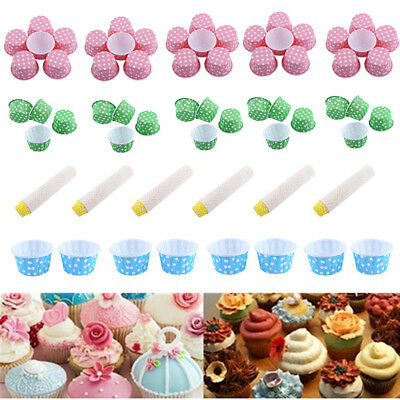 100pcs Paper Cake Cupcake Liner Case Wrapper Muffin Baking Cup Party Wedding JS