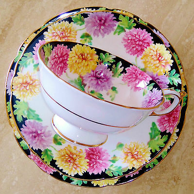 PARAGON Vintage China Tea Cup Saucer and Plate Trio Mums Chrysanthemums on Black