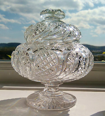 ANTIQUE Victorian 19th Century Crystal Cut Glass Lidded Footed Sweetmeat Jar Pot
