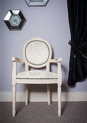 French Louis Armchair White Damask Shabby Chic Antique Style Bedroom Cream Chair