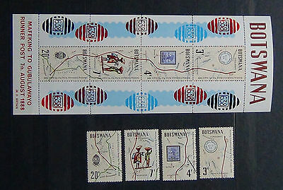 Botswana 1972 Mafeking - Gubulawayo Runner Post set & Miniature Sheet MNH