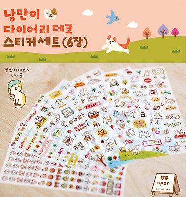 6Pcs Scrapbook Calendar Diary Planner Decor Cartoon Cat Story Stickers Craft DIY