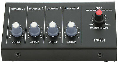 New Portable Lightweight 4 Channel Microphone DJ PA Mixer with Jack Inputs