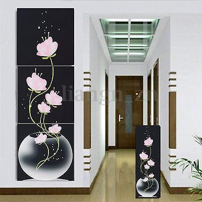 3Pcs Large Canvas No Frame Modern Abstract Art Oil Painting Flower Wall Decor AU