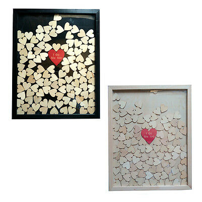 Personalized Name Wooden Drop Top Box Wedding Guest Book Frame 120/150 Hearts