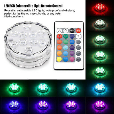 10 LED Underwater Remote Control Submersible Plant Pool Garden SPA Decor Light