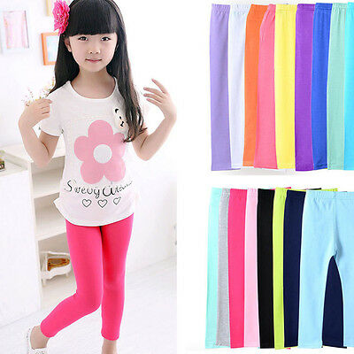 Girls Winter Warm Velvet Leggings Solid Candy Color Kids Child Pants Trousers