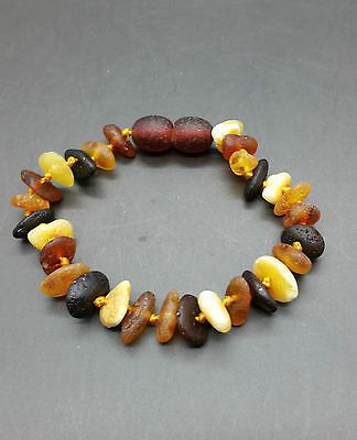 Genuine BALTIC AMBER BABY Knotted Bracelet MIX Colour Unpolished