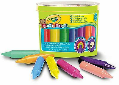 24 Pack Crayola Mini Kids Jumbo Crayons Pre School Washable Bright Colours