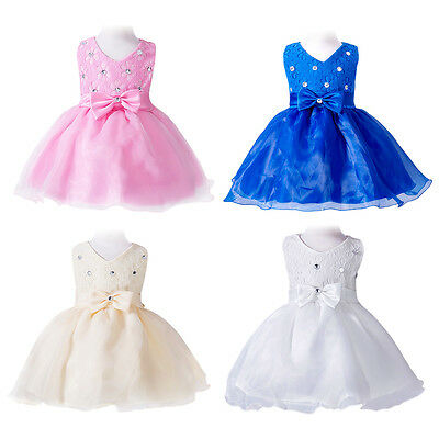 Girls Baby Baptism Tutu Dress Kid Toddler Flower Wedding Party Pageant Prom Gown