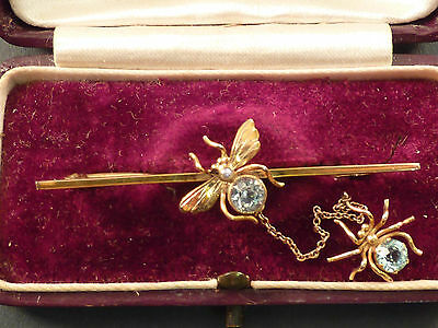Fine Victorian Blue Topaz Set Fly Bar Brooch, And Spider On Chain