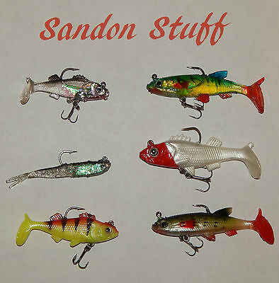 Set of 6 Soft bait Lead Head jig lure pike bass perch trout zander Selection 2