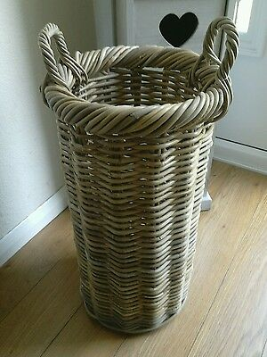 Grey Rattan Umbrella Hallway Storage Basket Stand Holder 59cm