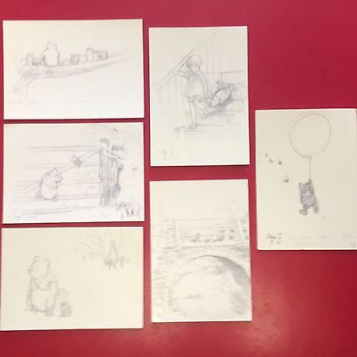 Collectable MINT Set of 6 WINNIE THE POOH Sketch Postcards E H Shepard