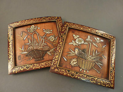 Superb Pair Of Japanese Shibayama Panels, Fish In Baskets With Flowers