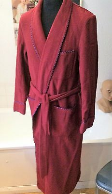 vintage Lloyd Attree Smith wine red wool traditional dressing gown/robe M -38""
