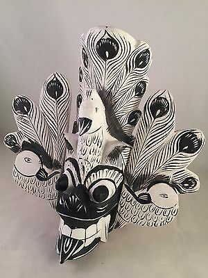 Wooden Carved Sri Lankan Cultural Mask of black & white Peacock