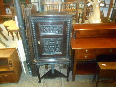OAK ANTIQUE GEORGE lll CORNER CUPBOARD ON STAND CARVED FRONT BEATIFUL PATINA