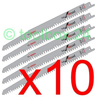 10 x Genuine Bosch S1531L 240mm Reciprocating Sabre Saw Blades for Wood Cutting