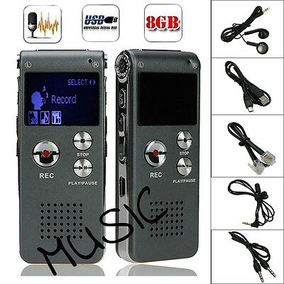 8GB Digital MP3 Player Audio Voice Recorder Rechargeable Dictaphone Telephone #