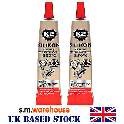 K2 High Temperature 350° Heat Resistant RED Silicone Sealant Adhesive 21g X 2