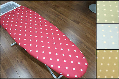 Polka Tie-On Ironing Board Cover, Easy fit, Thick Foam Backing