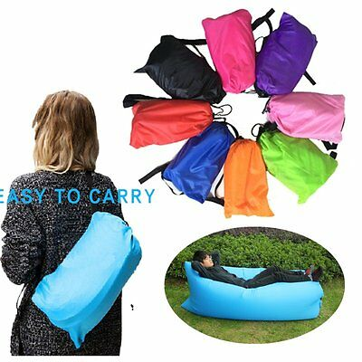 Fast Inflatable Air Sleeping Bag Camping Bed Beach Holiday Sofa Lounge