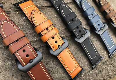 For Apple Watch Series 4 3 2 1 Genuine Leather Watch Strap Band 38/40/42/44mm UK