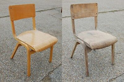 Mid century Teota Tecta chair plus another vintage school church college chair