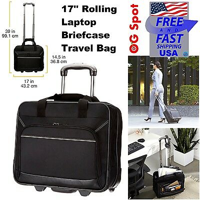 e2b5eee22dfc NEW Wheeled Briefcase Laptop Case Rolling Business Black 17