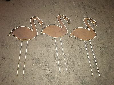 Vintage Set Of 3 Flamingo Lawn Yard Ornament Mid-Century Modern 1950's Swan