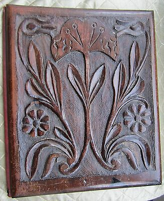 Antique carved letters case folder ARTS & CRAFTS/ART NOUVEAU water lily design