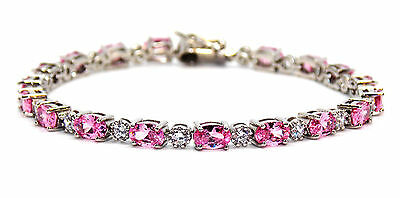 Sterling Silver Pink Sapphire And Diamond 7.86ct Tennis Bracelet (925)