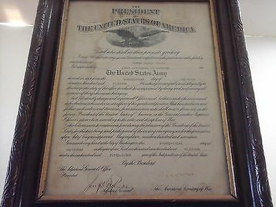 RARE WWl US MILITARY ARMY APPOINTMENT CERTIFICATE DOCUMENT SIGNED