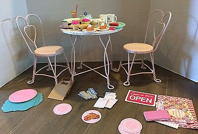 American Girl Sweet Treats Bistro Table & Chairs + Accessories- Excellent!