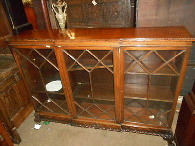 Antique Victorian Mahogany Claw & Ball Bookcase 3 Door Carved Detail