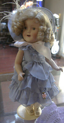 Shirley Temple Danbury Mint Signed Porcelain Doll w/Stand Vintage Adorable